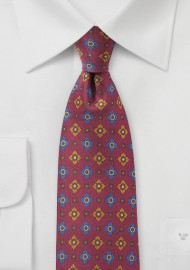 Wine Red Vintage Print Silk Tie