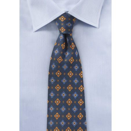 Vintage Print Tie in Navy and Orange