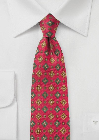 Red and Green Floral Print Silk Tie
