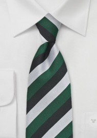 Repp Stripe Kids Tie in Green, Silver, and Black