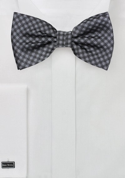 PATTERNED CHECK RED WHITE BLACK BOW TIE Satin Silky Pretied Adjustable Tartan