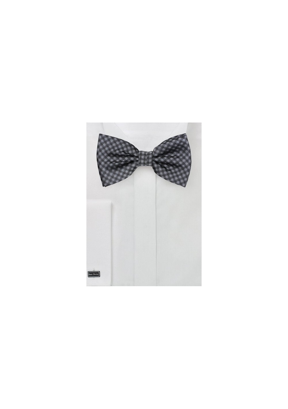 Gingham Bow Tie in Heather Gray