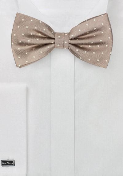 Elegant Silk Polka Dot Bow Tie in Fawn