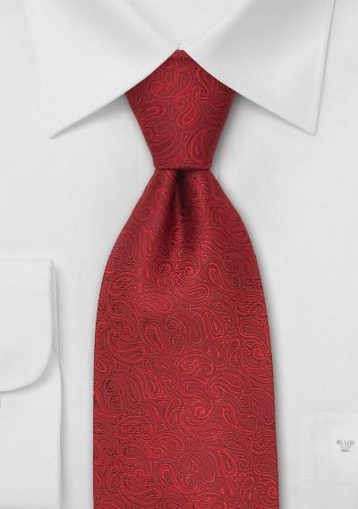 Modern Red Paisley Silk Designer Tie in XL