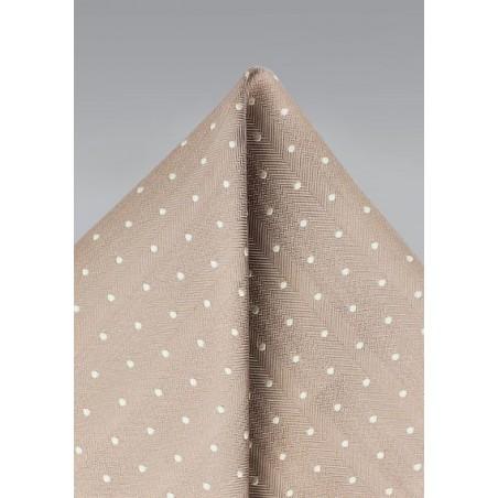 Polka Dot Pocket Square in Fawn