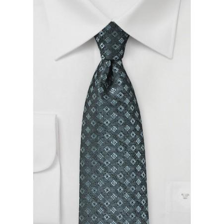 Diamond Check Tie in Steel Gray