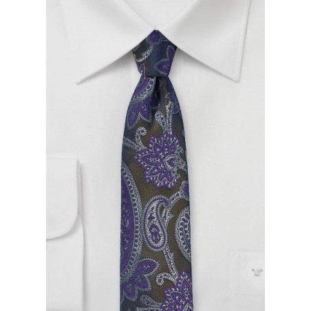 Brown Paisley Tie with Purple