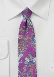 Violet and Pink Paisley Skinny Tie