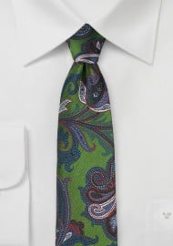 Trendy Paisley Tie in Dill Green