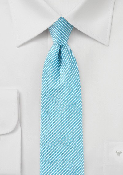 Sky Blue Striped Linen Tie