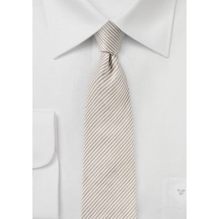 Pencil Stripe Linen Tie in Toasted Almond