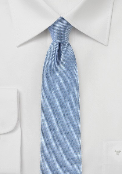 Linen Skinny Tie in Faded Denim Blue