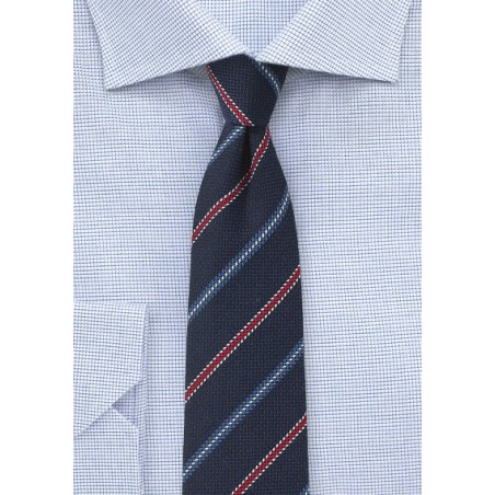 Textured Woven Tie in Navy