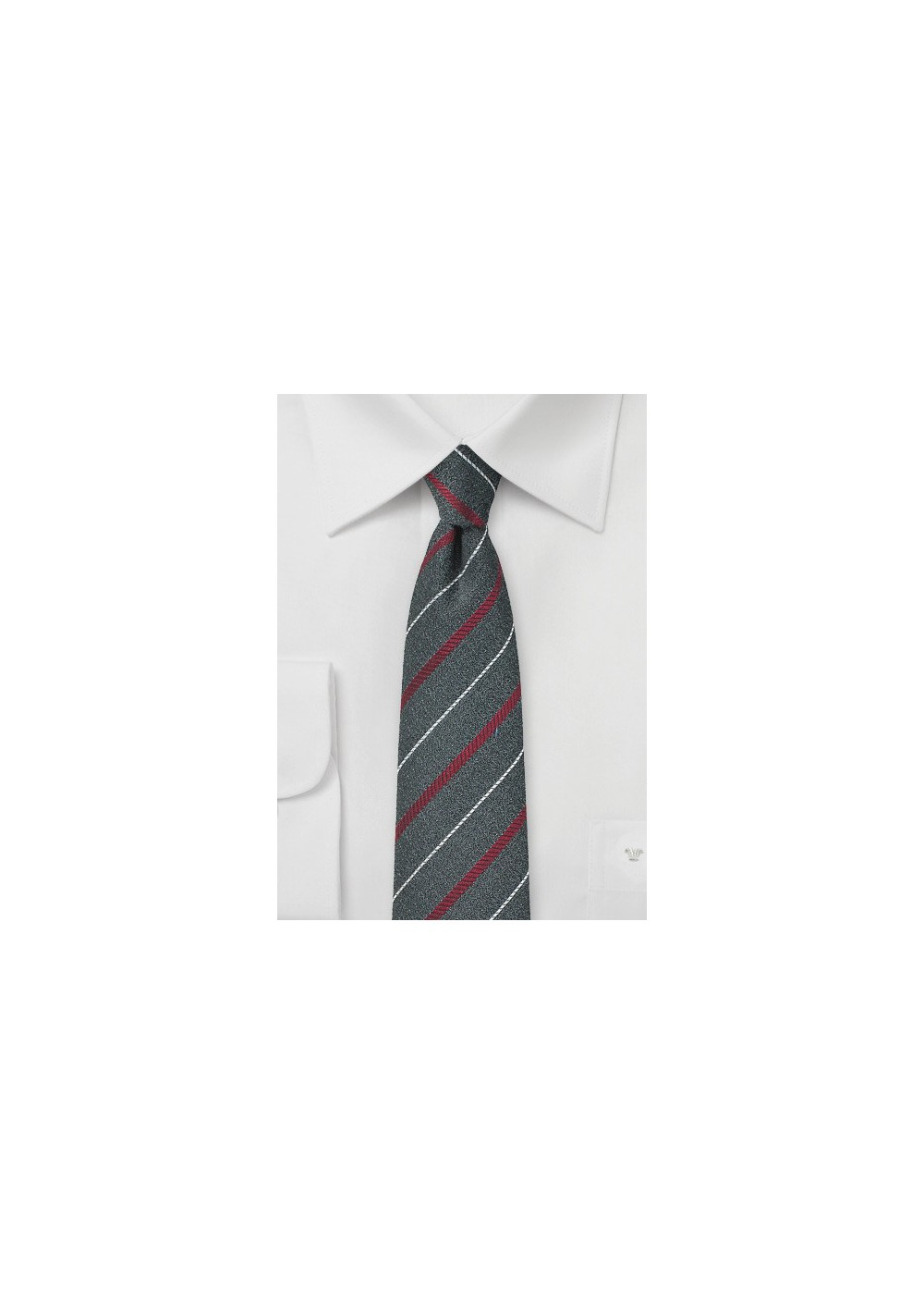 Graphite Gray Striped Skinny Tie