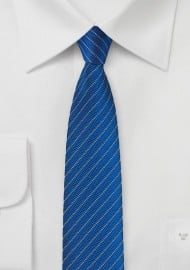Skinny Herringbone Design Tie in Royal Blue