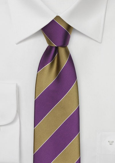 Purple and Gold Striped Tie for SMU