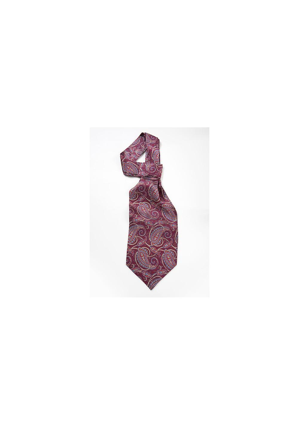 Mens Ascot Tie in Burgundy