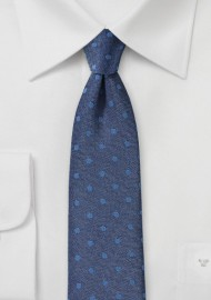 Denim Blue Summer Polka Dot Tie