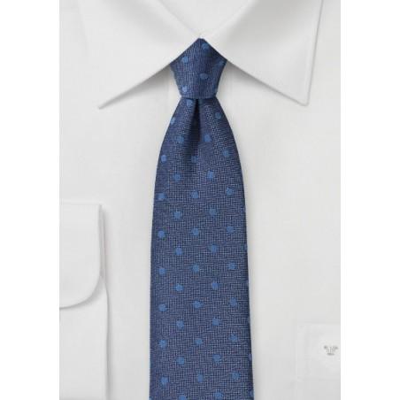 Denim Blue Summer Polka Dot Tie