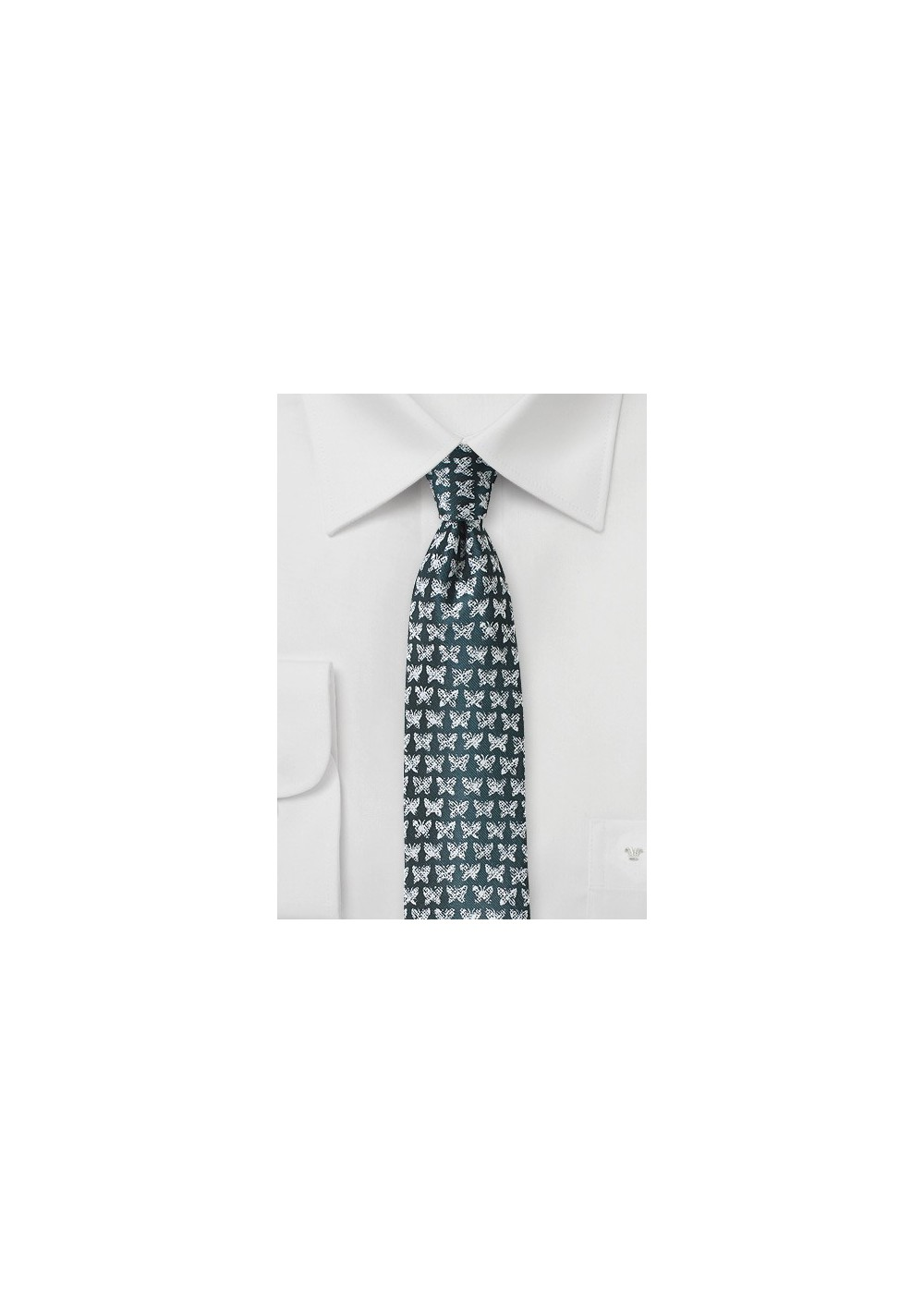 Butterfly Print Tie in Dark Spruce