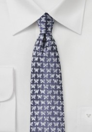 Designer Silk Tie in Violet with Butterfly Print