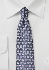 Designer Silk Tie in Violet with Butterfly Print