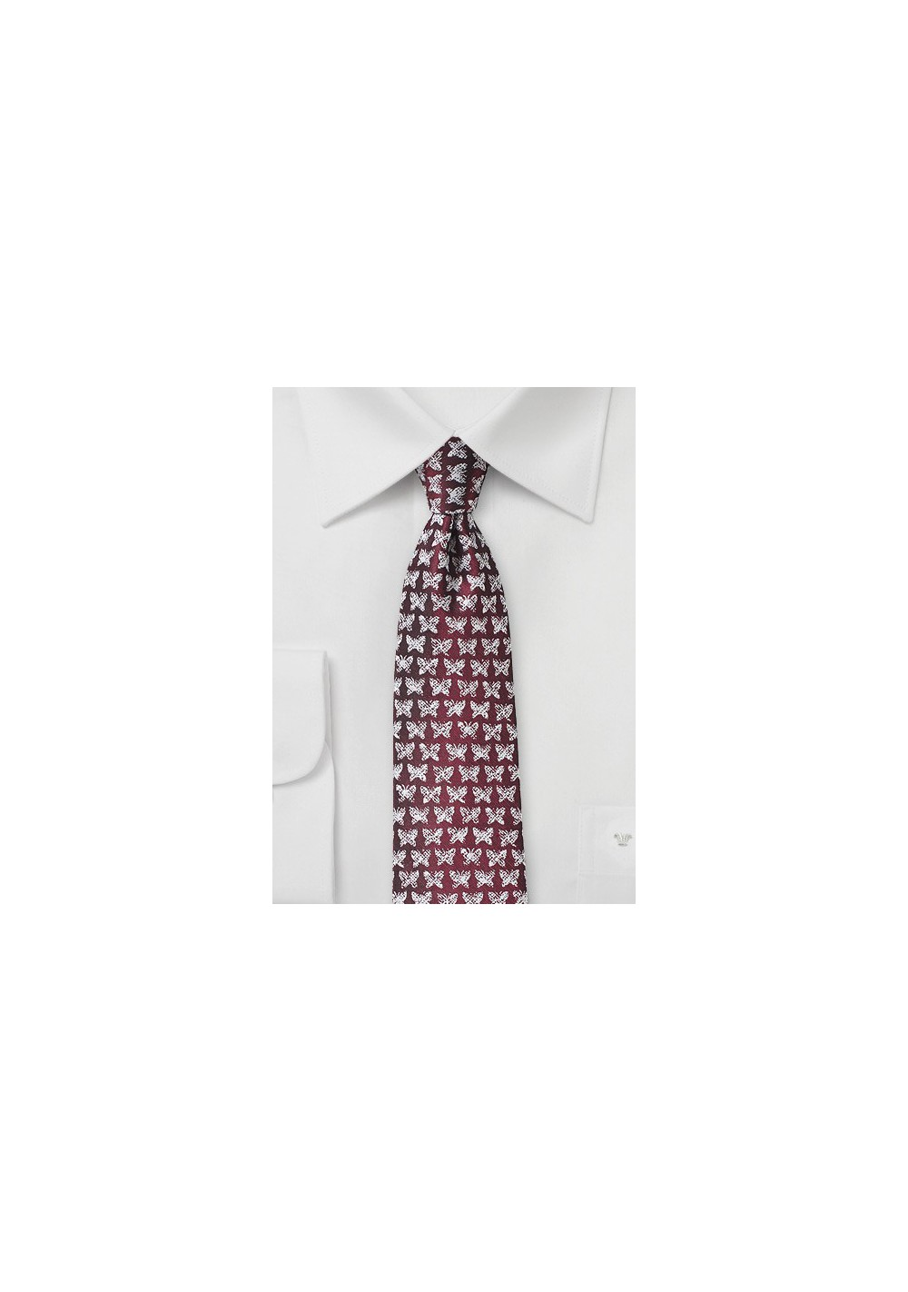 Wine Red Butterfly Print Tie