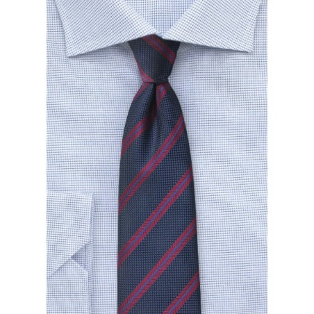 Trenditional Striped Tie in Midnight Blue and Burgundy