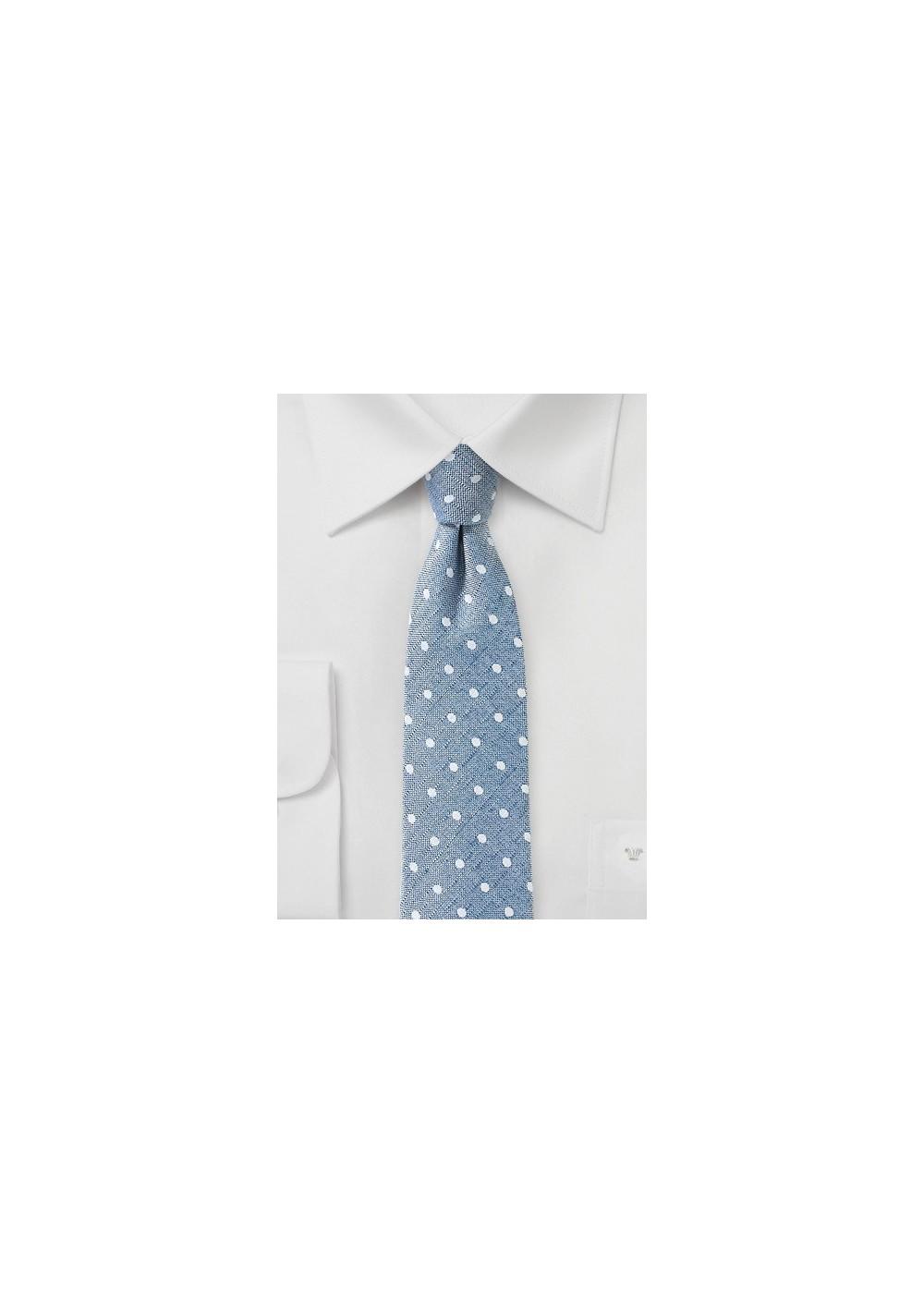 Washed Denim Polka Dot Tie