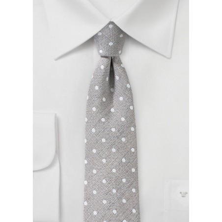 Wheat Colored Polka Dot Linen Tie