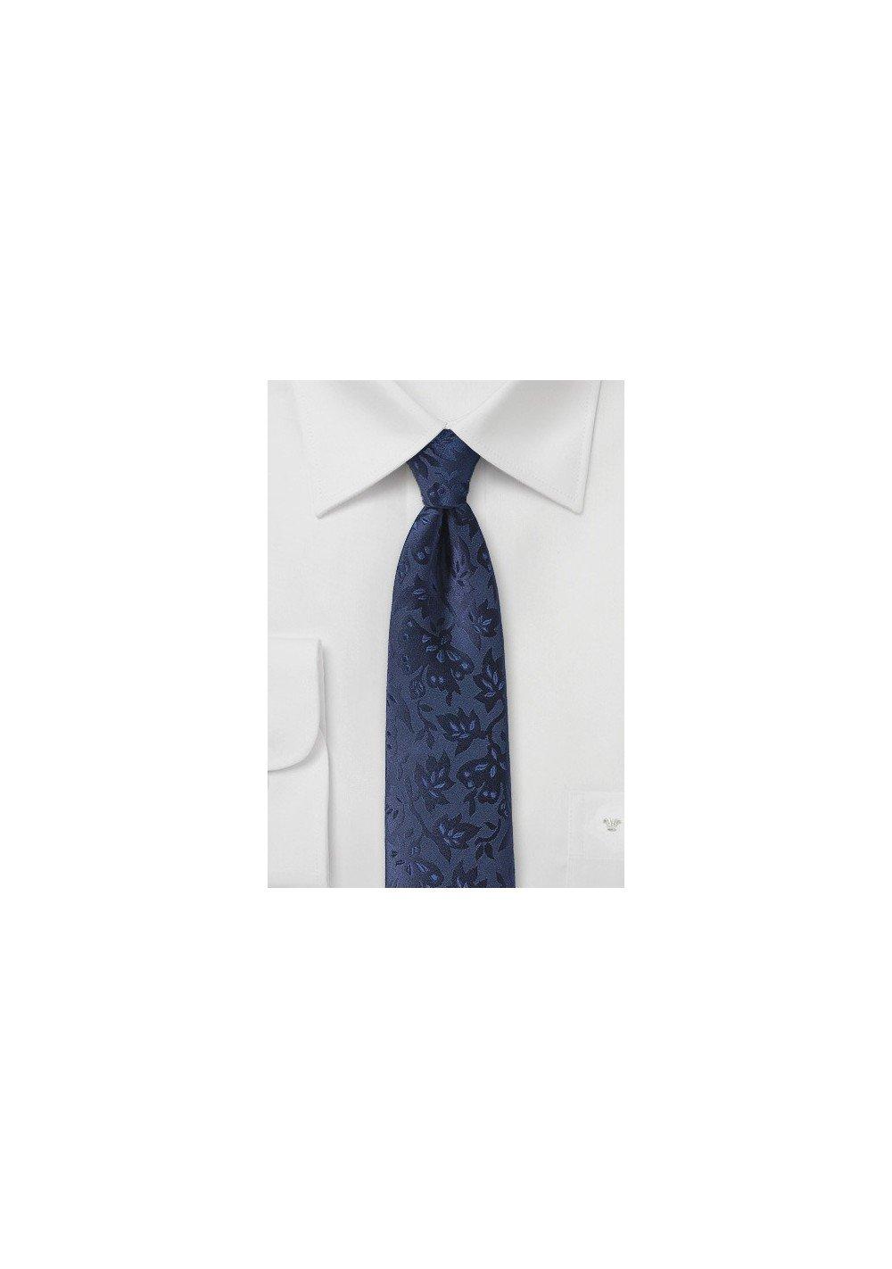 Floral Silk Tie in Midnight Blue