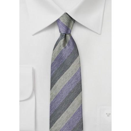 Lavender and Gray Striped Tie