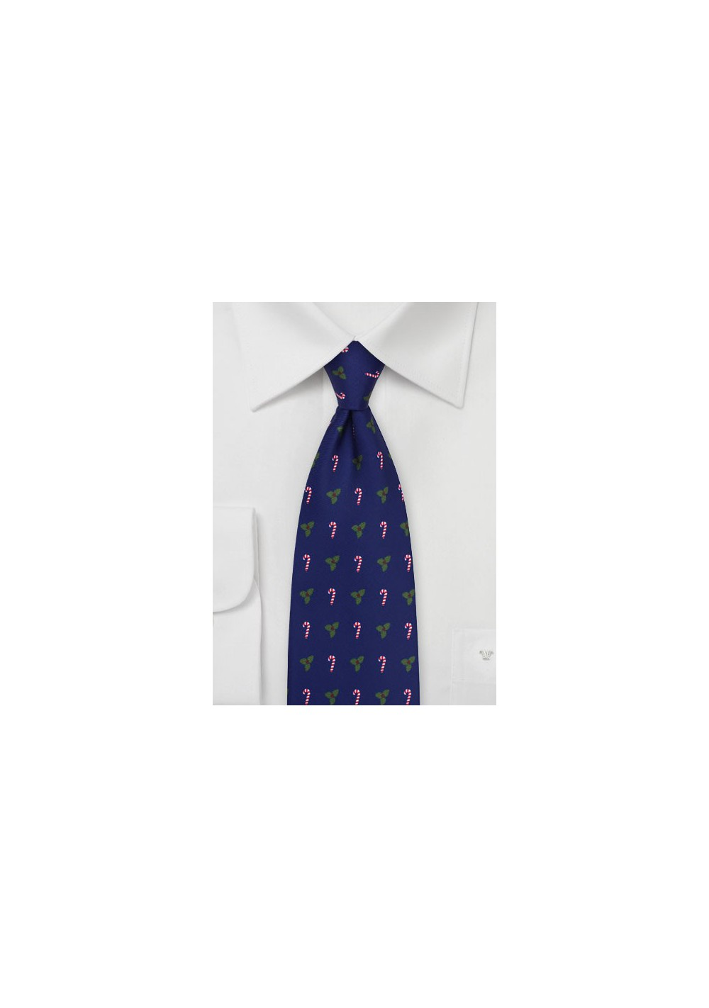 Candy Canes and Mistletoes Mens Tie in Royal Blue