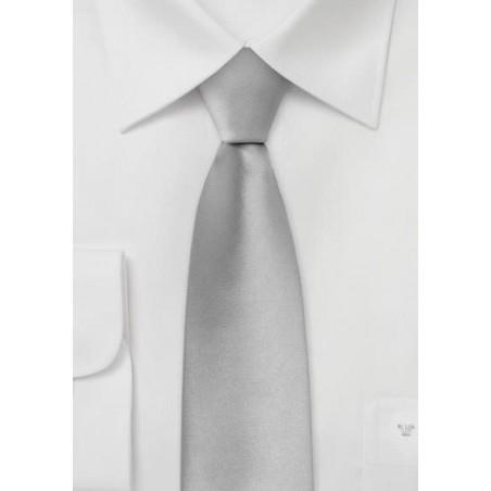 Formal Silver Skinny Silk Tie