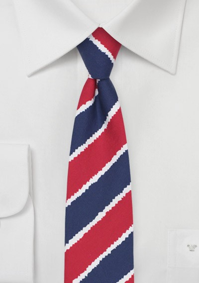 Summer Striped Cotton Tie in Skinny Cut
