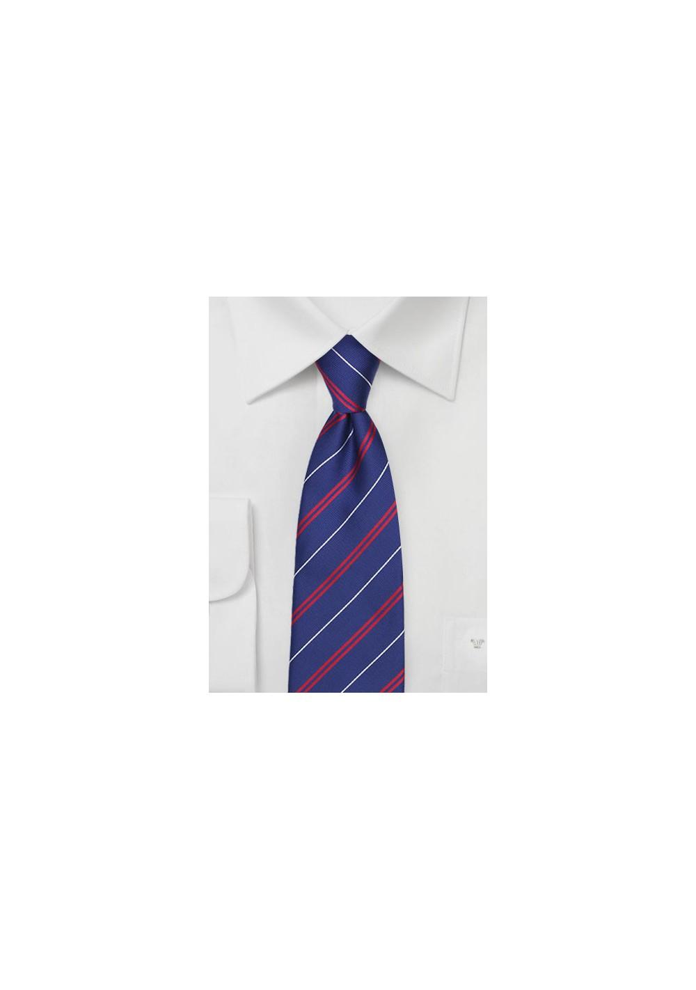 Elegant Repp Stripe Tie in Patriots Blue