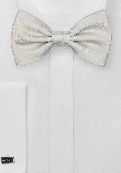 Light Ivory Paisley Bow Tie
