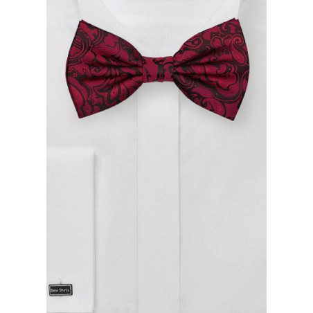 Burgundy Color Paisley Bowtie