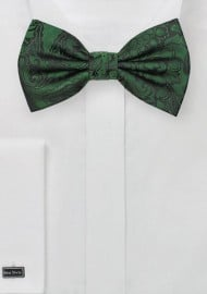 Forest Green Paisley Bow Tie