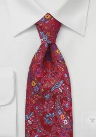 Colorful Floral Paisley Silk Tie in XL