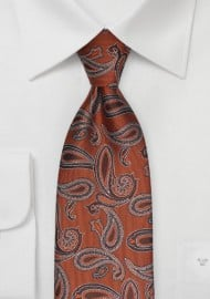 Copper Orange Paisley Tie