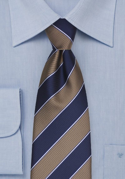 Elegant Striped Tie in Wheat and Navy