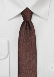 Textured Skinny Tie in Espresso Brown