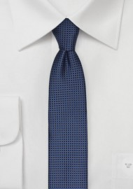 Micro Check Skinny Tie in Blue