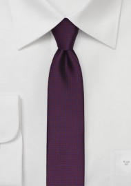 Burgundy Skinny Tie with Navy Micro Checks