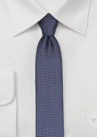 Micro Checkered Skinny Tie in Silver and Blue