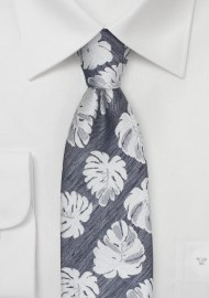 Tropical Leaf Pattern Tie in Gray
