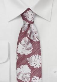 Monstera Leaf Pattern Tie in Red
