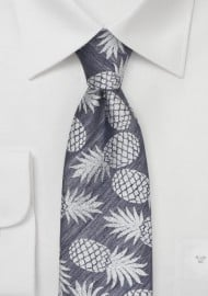 Summer Linen Tie with Pineapple Pattern