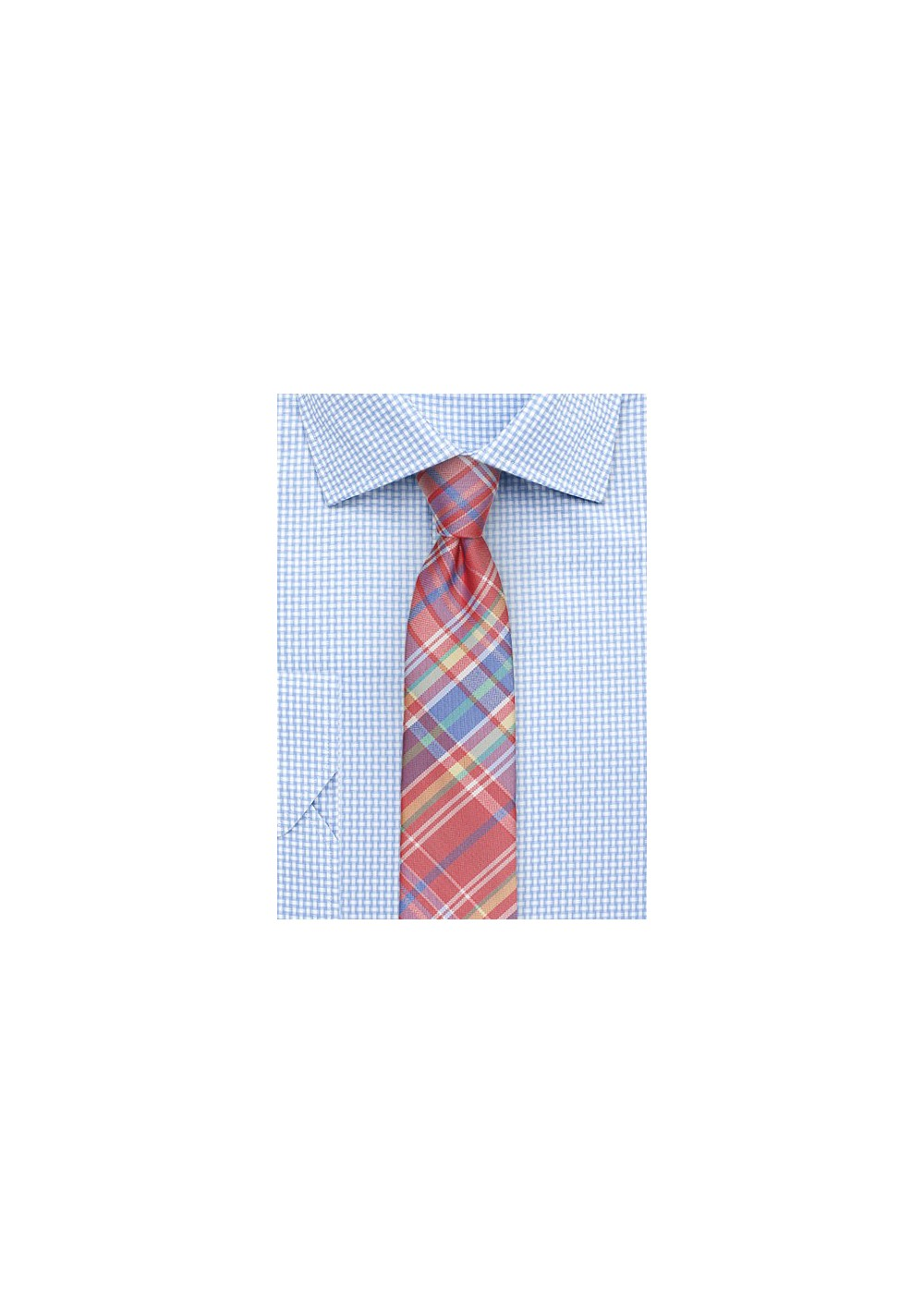 Colorful Madras Skinny Tie in Reds